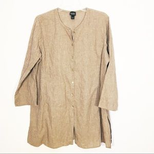Eileen Fisher Tunic Button Down Blouse Ribbed